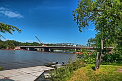 Bridge Construction Almost Done (hbickel) Tags: bridges bridge bridgeconstruction highdynamicrange hdr mohawkriver mohawkriverlandscape dock trees river canont6i canon pad photoaday