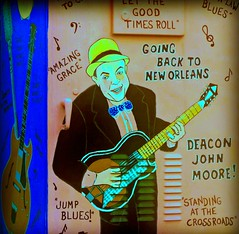 New Orleans Streets --- Deacon John Moore (forestforthetress) Tags: neworleans deaconjohnmoore color outdoor man sign text letters message music musician streets google photography