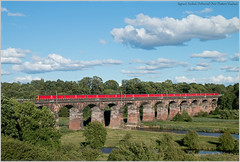 Signed, Sealed, Delivered Over Dutton Viaduct (Resilient741) Tags: class 325 electric multiple unit units emus emu dutton viaduct wcml west coast main line 1s96 royal mail post postal river weaver landscape capture full sun view