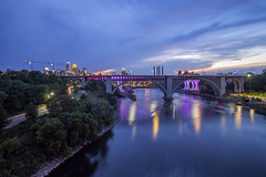 Twilight over the Mississippi (Sam Wagner Photography) Tags: minneapolis minnesota bridges mississippi river mighty blue long exposure motion blur wide angle midwest architecture skyline 35w stone arch traffic cityscape hour twilight