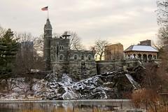 Belvedere Castle, NYC (diegosm06) Tags: amateur sky centralpark manhattan travel lake bigapple snow january belvedere flag trees winter eos t3 canon usa newyork castle nyc
