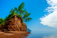 the gravity of the situation (Port View) Tags: fujixe2 millcreek novascotia ns canada cans2s 2017 summer beach blomidon capeblomidon cliff erosion red blue sky white cloud calm tide tidal hightide trees leaning roots grass