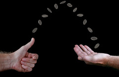 Heads or tails (jopperbok) Tags: jopperbok wah werehere hereios black blackbackground hands hand fingers coin coins flipping heads tails toss flip penny money change chance tossing rotation rotate naviaautcaput crossandpile