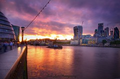 Tower Bridge Sunset (JadeAstraPhotography) Tags: photo photographer city urban london purple pink architecture colour river riverthames water skyline clouds sky spectacularsky dusk sunset