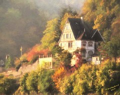 Cottage overlooking the Rhine in St. Goarshausen Germany, a Photo Painting (PhotosToArtByMike) Tags: stgoarshausen germany sanktgoarshausen photopainting cottage riverrhine rhine medieval rhinegorgeunescoworldheritagesite rheinlahnkreis rhinevalley rhinegorge middlerhinevalley stgoar rhinelandpalatinate
