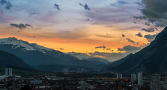 Hometown Sunset Skyline (kewlscrn) Tags: nikon d800 remo bivetti kewlscrn skyline sunset sonnenuntergang chur schweiz stadt city swiss coira coire colours f56 70mm 150 iso200 sigma 70200mm night last lights glow orange mood moode stimmung valley mountains snow berge