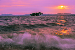 sunset 0025 (junjiaoyama) Tags: japan sunset sky light sun sunshine cloud weather landscape pink purple contrast colour bright lake island water nature summer