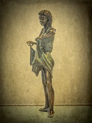 At the Dance (clarkcg photography) Tags: bronze statue dance dancer female dress danceshoes textures texturaltuesday