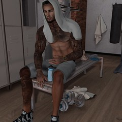 -Post Workout Contemplation (Laith Swank) Tags: aprocalypse secondlife slphoto signature slphotos shadows gym workout virtualworld valekoer virtualgaming vexiin virtual blankline blog maleblog malefashion male mensonlymonthly tumblr themensdept treschic tattoo photography photos photo gaming fashion urban urbansl inspiration jewelry