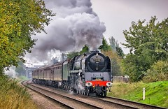 71000. Spirited departure ................ (Alan Burkwood) Tags: gcr loughborough 71000 dukeofgloucester steam locomotive semaphore signals