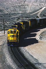ATSF 5031 - Cajon Pass CA - 01/18/85 (RockAndRail) Tags: atsf 5031 sd402 emd cajonpassca wb 7760314 built1077 santafe cajonpass ca california railroad steinshill