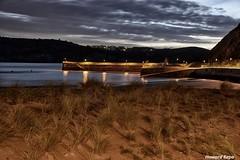 Dunas junto al dique. (Howard P. Kepa) Tags: paisvasco euskadi bizkaia gorliz dunas vegetacion arena marcantabrico atardecer anochecer dique farolas luces costa playadeastondo