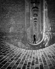 Who's that trip trapping over my bridge? (Gary Sanders Photography) Tags: balcombeviaduct brickwork under bridge sussex blackandwhitephotography monochrome haywardsheath selfportraiture selfie timedexposure