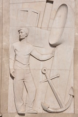 "Barcelona (Passeig de Gràcia / Gran Via de les Corts Catalanes). Sailor. Relief on the portal of the Zara Building, formerly ""Banco Rural y Mediterráneo"". 1961. Eudald Serra, sculptor. (Catalan Art & Architecture Gallery (Josep Bracons)) Tags: ""josep bracons"" catalunya catalonia cataluña catalogne katalonien art catala catalan arte kunst gallery barcelona barcelone zara amancio ortega inditex virgin ""terraza martini"" 1953 1961 eudald serra borrell sensat contemporani contemporaneo contemporary contemporaine escultura sculpture skulptur relleu relieve relief mariner marinero sailor port puerto ancora anchor ancla cavall cabalo cheval horse dona noia girl mujer femme locomotora locomotive tren train"