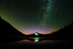 Mt Hood, seen from Trillium Lake. Milky Way, Aurora Borealis (Redfishingboat (Mick O)) Tags: mthood trilliumlake milkyway