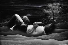 The dreamer (Marcelo Garcia Ferreyra) Tags: sleep sueño dream surreal tree arbol hills colina frame marco blanco negro white black man nikon d7000 e8700 collage portrait apaisada surrealism surrealismo sun sol dusk crepusculo grainy granulosa distance distancia aethereal eterea symbolism simbolismo