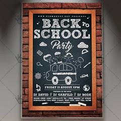 Back to School Party Kids - Premium Flyer PSD Template (psdmarket) Tags: back2school backtoschoolflyer blackboard chalk chalkboard chalkboardflyer collegeparty schoolparty vintage