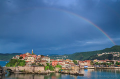 Amasra, Bartin, Turkey (Feng Wei Photography) Tags: minaret turkeyblackseacoast blacksea rainbow buildingexterior highangleview anatolia scenics eastasia city colorimage oldtown traveldestinations turkeymiddleeast sea ottoman mosque beautiful peaceful ocean centralanatolia travel amasra house horizontal outdoors tourism turkishculture bartin cityscape turkish turkey tr