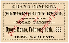 Altoona City Band, Grand Concert Ticket, Altoona, Pa., February 16, 1888 (Alan Mays) Tags: ephemera tickets concerttickets admissiontickets admissions paper printed altoonacityband bands music musicians grandconcert concerts quickcharity quickcharityfund hospitalfund funds fundraisers fundraising charities benefits charityconcerts benefitconcerts overprinted overprinting red borders operahouse altoona pa blaircounty pennsylvania february16 1888 1880s 19thcentury nineteenthcentury victorian antique old vintage typefaces type typography fonts