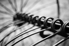 Working the Fields (belleshaw) Tags: blackandwhite oakglen losriosrancho metal coils farmequipment tines wheel spokes rust springs bar detail abstract bokeh