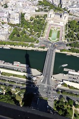 Eiffel Tower with her shadow over the Seine (Muddy LaBoue) Tags: iledefrance monuments towers iconicarchitecture 1889 2017 july worldexposition eiffeltower paris france attractions tourism panasoniclumixdmctz60 summer