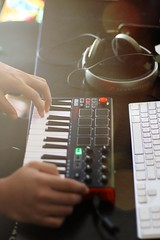 Playing with his new toy (jangkwee) Tags: akai 80d music midi