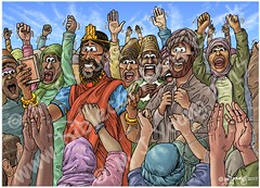Daniel 06 - The lions' den - Scene 15 - Praise the Lord (Colour version) (Martin Young 42) Tags: daniel daniel62527 king darius kingdarius mede babylon message proclamation praise praisethelord crowd people subjects colourversion