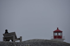 Benchwarmer (aaronchakraborty) Tags: bench man stranger lighthouse looking watching color landmark novascotia tourist rest rock background foreground red blue sky white wooden old history historical