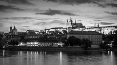 Gothic City (McQuaide Photography) Tags: prague praag praha czechrepublic českárepublika czechia centraleurope europe sony a7rii ilce7rm2 alpha mirrorless 2470mm sonyzeiss zeiss variotessar fullframe mcquaidephotography adobe photoshop manfrotto tripod light architecture outdoor outside building city capitalcity sky clouds vltava river longexposure historic history landmark touristattraction travel tourism old skyline water reflection praguecastle pražskýhrad iconic famous cityscape unesco 169 widescreen gothic urban blackandwhite blackwhite bw mono monochrome dusk twilight