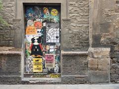 Saturated door (aestheticsofcrisis) Tags: street art urban interventions streetart urbanart guerillaart graffiti postgraffiti barcelona spain raval europe wheatpaste pasteup