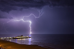 Lightning strike at Bournemouth Pier (andyk11) Tags: lightning bournemouth pier strike weather extreem thunderstorm uk sea seascape beach electrical storm dark andy knowles andyknowles water dramatic powerful cloud dorset horizon reindeereatingspaghetti reindeer