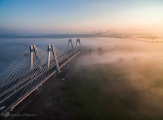 DJI_0017 (TomaszMazon) Tags: bridge krakow vistula river poland pylon mist fog sunrise