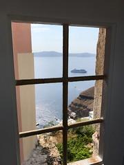 Window on the world (BiggestWoo) Tags: ship cruise sea greece santorini fira