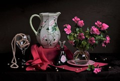 Smell of the Past (Esther Spektor - Thanks for 12+millions views..) Tags: stilllife naturemorte bodegon naturezamorta stilleben naturamorta composition creativephotography artisticphoto arrangement tabletop bouquet flowers pitcher bottle smell patfume plate vase necklace pearls bead goblet scarf drape glass ceramics pattern availablelight green pink fuschia sage brown estherspektor canon