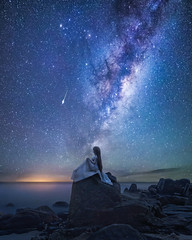 Another Night In Paradise (Ateens Chen) Tags: nikon d810 carlzeiss carlzeissdistagont2815zf2 distagont2815 zf2 landscape portrait longexposure people night milkyway starrysky sea rock ocean sky dollfiedream volks doll whitealbum ogatarina dd ateens
