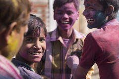 When your're smiling (alfienero) Tags: holi mathura india people colours smile smiling colors reportage street happyness happy celebration hinduism