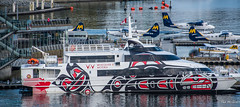 2017 - Vancouver - V2V Empress (Ted's photos - For Me & You) Tags: 2017 alaskacruise bc canada cropped nikon nikond750 nikonfx tedmcgrath tedsphotos vancouver vancouverbc vancouvercity vignetting v2v v2vferry v2vempress ferry boats floatplanes harbourair aeroplanes water coalharbour railing catamaran