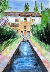 Patio de la Acequia (Dr Graham Beards) Tags: granada generalife alhambra andalucia architecture fountain watercolor watercolour
