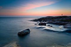 Summer Sunset (Yazu) Tags: nikon d3 nikkor nikkor1635 longexposure sea seascape water waterscape rock cliff clouds serene sunset sun nature dusk evening finland porkkala porkkalanniemi photography