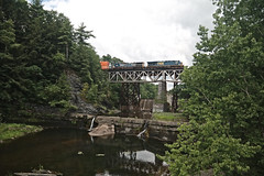 Train Crossing Normanskill Creek (hbickel) Tags: normanskill creek train locomotive bridges bridge waterfalls canont6i canon photoaday pad