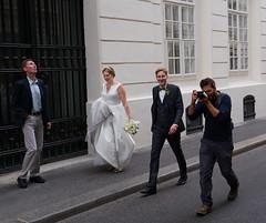 Vienna wedding party (peter.a.klein (Boulanger-Croissant)) Tags: vienna austria bride groom photographer street decisivemoment gown bouquet bow tie tux tuxedo