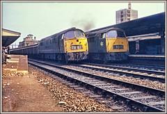 Brace yourself (david.hayes77) Tags: agfabillyzero 1973 reading berkshire dieselhydraulic class52 western westernfirebrand westernrifleman 1012 1031 freight 7v67 1b73 kodak127 brace headcode