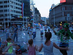 Soap bubbles man
