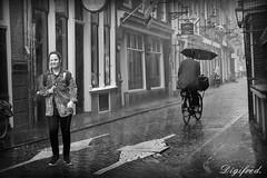 Walking in rain. (Digifred.nl) Tags: digifred 2017 amsterdam nikond500 nederland netherlands holland iamsterdam straat street city grachten streetphotography blackwhite blackandwhite monochrome people portret portrait candid regen rain raining