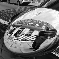 Day 203. Wing mirror selfie. (Rob Emes) Tags: iphone6 iphone iphonography self selfie reflection reflecting mirror white bw black mono square street urban city london 3652017 365 jul2017