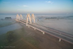 DJI_0042 (TomaszMazon) Tags: bridge krakow vistula river poland pylon mist fog sunrise