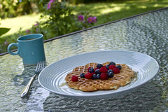 Breakfast on the Deck (brucetopher) Tags: berry berries blueberry raspberry blueberries raspberries syrup waffle belgianwaffle belgian fruit breakfast plate coffee cafe outside outdoors outdoor food eat tasty sweet homegrown organic grow home grown