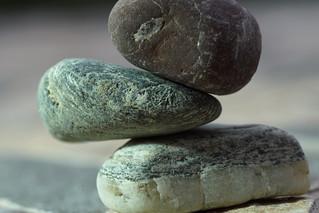THREE pebble stones in balance for MacroMondays
