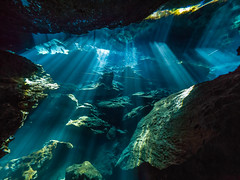 Cavern Light Show II (altsaint) Tags: 714mm chacmool gf1 mexico panasonic cavern caverndiving cenote scuba underwater