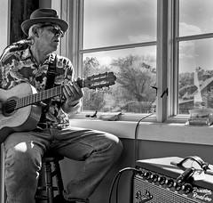Berg-Guitar Player (MacEmpire) Tags: mike gwinn guitarist monochrome old fender amp paonia colorado berg harvest